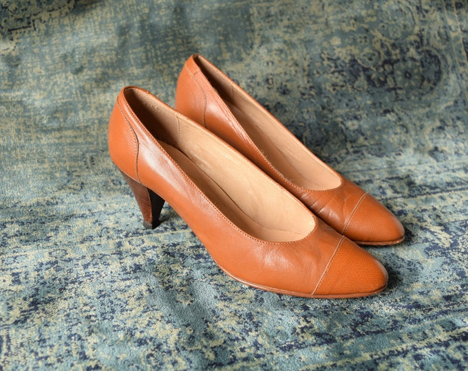 Featured listing image: Tan pumps - Size 6.5 - Stacked Heel pumps - Work shoes - Tan Leather Pumps - Simple Vintage heels - Brown Leather Heels