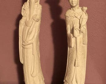 PAIR of Large Vintage Cast Resin Asian Diety Figures of Man and Woman from Italy