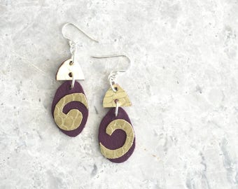 3rd Anniversary Gift for Wife, Purple and Gold Earrings with Spiral, Asymmetrical Leather Statement Earrings, Valentine Gift, One of a Kind