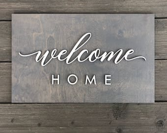 Welcome Home Plank Sign 15in x 9in, office welcome entry way mud room baby room home wall decor hi greeting decoration wall art