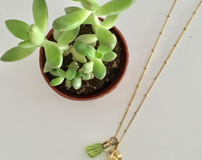 Featured listing image: Tiny Gold Elephant and Mini Tassel Necklace / Good Luck Necklace / Tassel / FREE SHPPING