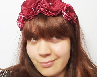 Red Satin Floral Crown, Day of the Dead Headpiece, Mexican Flower Crown,Bridesmaid Headpiece, Festival Crown, Boho Headpiece, Gothic Crown