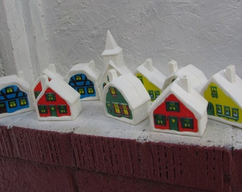 Vintage 10 Plastic Village Houses for Mantle, Train Display, or Shelf, etc.  Like New Houses and Church.