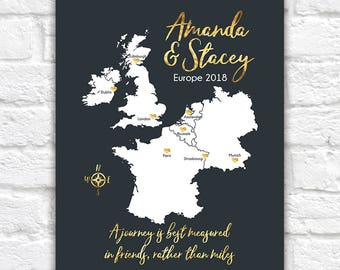 Friends Travel Map, European Trip, Vacation with Friend, London, Paris, Amsterdam, Brussels, Europe Map, Study Abroad, Girls Trip | WF606