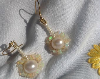 Pearl And Opal Sterling Silver Drop Earrings