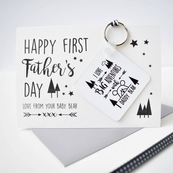 First Father's Day - Daddy bear card and keyring - Big adventures with daddy - Superhero Daddy