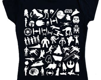 Ladies - STAR WARS T-shirt S - 2XL original movies montage - Screen Printed NOT Transfer - imperial rebel alliance