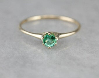 Vintage Emerald Solitaire Gold Ring XJZ6MC-R