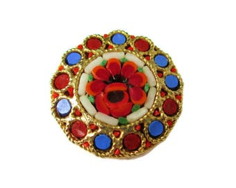 Italian Micro Mosaic Pin/ Red Round Micromosaic Brooch/ Red Floral Gold Tone Brooch / Rope Italian Bezel Pin