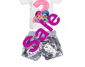 Ships Next Day!! Shimmer and Shine 2nd Birthday Rhinestone Shirt and Sequin Short set Pink or Silver Shorts