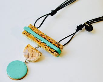 LIGHT - adjustable - personalized NECKLACE - recycled Cork - stainless steel - Ecopoxy