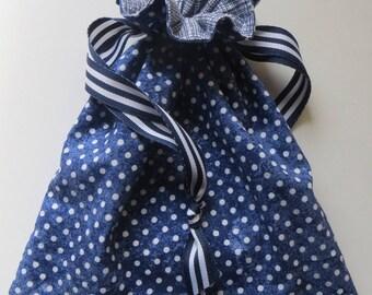 Navy Blue Polka Dot Lined Drawstring Fabric Gift Bag