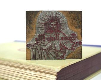 "Religious Vintage Printing Letterpress ""Come Unto Me"" Printers Block Printers Cut"