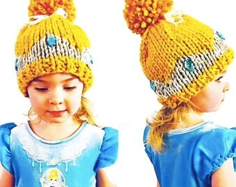 PATTERN: Crowned Princess Winter Hat Knitting Pattern, PomPom Bun Hat Knit Pattern, Princess Tiara Knitting Pattern, Chunky Knit Jewel Crown