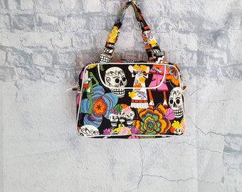 Handmade Day of the Dead Handbag - Calacas Skeleton Retro Purse - Retro Style Handbag Purse - Handbag Lunchbag - Dias de los Muertos Purse