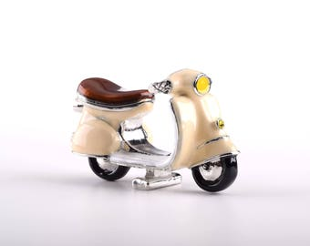 Beige Vespa Decorated with Swarovski Crystals Trinket Box by Keren Kopal Faberge Style Home Decor Unique Gift