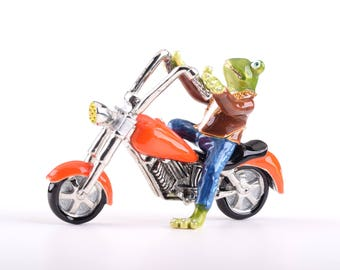 Frog on Motorcycle Decorated with Swarovski Crystals Trinket Box by Keren Kopal Faberge Style Home Decor Unique Gift