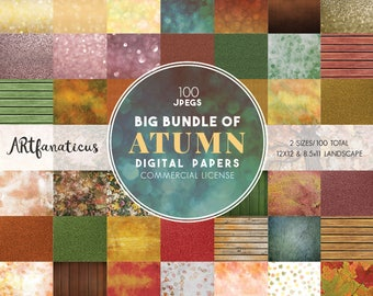 Big Bundle AUTUMN Digital Papers include 100 jpegs with 50 unique digital papers in 2 sizes includes Commercial License