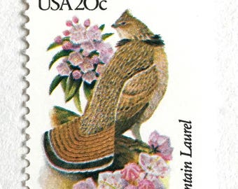 10 Vintage Pennsylvania Postage Stamps// Ruffed Grouse and Mountain Laurel  / Pennsylvania State Bird and State Flower / Stamps for Mailing