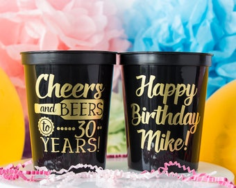 Cheers & Beers to 30 Years, 30th Birthday, 30th Party Favor, 30th Party Cups, Birthday for Him, Stadium Cup, Personalized Cups, Plastic Cups