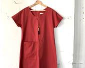 Vienna Dress - burnt coral cotton twill size M