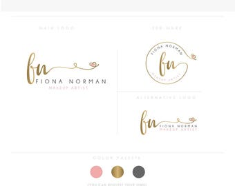 Little heart emblem Branding Kit, Photography Logo Watermark, Handwritten initials, Gold Initials Signature / Rose Gold Logo Design Stamp