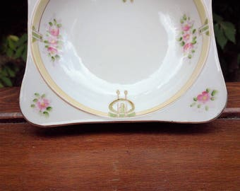 Vintage Pink Green and Gold Porcelain Salt Dish
