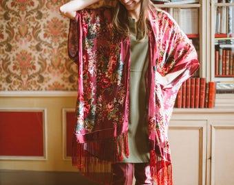 Burgundy fringe floral kimono - Hippie boho festival bridal kimono - silk burnout velvet kimono - gypsy kimono