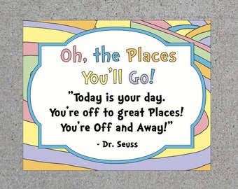 Dr. Seuss Oh The Places You'll Go Printable Goodie Bag