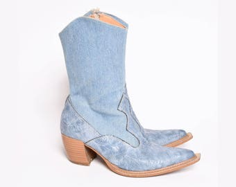 Vintage 90's Blue Denim Cowboy Boots with Side Zippers