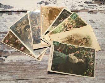 Romantic Woman Postcards . Set of 8 Vintage Postcards . Vintage French Postcard Lot .