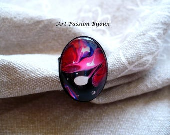 Black red ring, nebula jewelry, funky ring, psychedelic jewelry, oval marble ring, galaxy ring, pink red ring, painted on water, 15%off ship