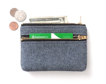 Wallet Coin Purse Double Zipper Pouch Denim