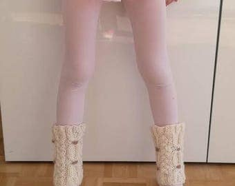 Child's gaiters knitting 100% handmade in France with twisted beige/caramel wool leg warmers available sizes