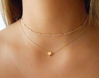 Set Of 2 Gold Necklaces, Gold Necklace Set, Star Necklace, Gold Choker, Dainty Gold Layered Necklace Set, #434