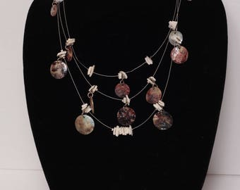 Triple Tier Abalone Shell/Silver Necklace with Earrings