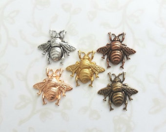 Bee Tie Tacks, Tiny Lapel Pin, Choose Your Finish Antiqued Gold, Gold, Rose Gold, Copper, Silver, Tiny Brooch, Woodland, Wedding, Beekeeper