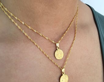 Medallion necklace etsy tiny gold medallion necklace set gold saint necklace tiny gold pendant necklace virgin mozeypictures