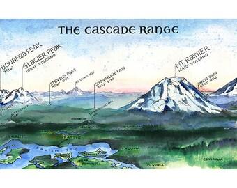 The Cascade Range  //  ILLUSTRATION // 36x12