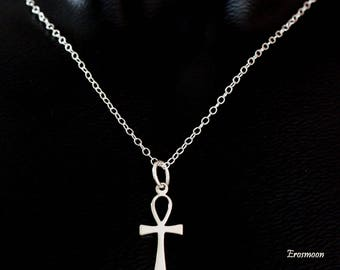 Sterling Silver Ankh necklace pendant with sterling silver chain