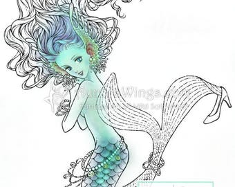 Digital Stamp - Mermaid - digistamp - Blingy Mermaid Trying on High Heel Shoe  - Fantasy Line Art for Cards & Crafts by Mitzi Sato-Wiuff