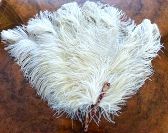 Genuine Antique French Art Deco  Ostrich Feather Boudoir Fan
