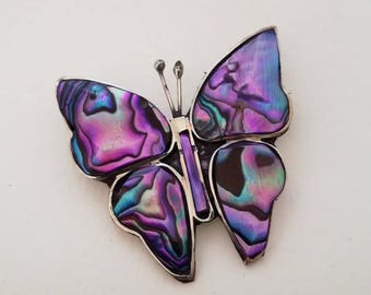 Purple Butterfly, Butterfly Brooch Pin, Purple Accessories, Vintage Brooch, Butterflies, Vintage Abalone, Made in Mexico, 1980s Jewellery
