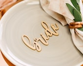"Bride & Groom Laser Cut Wood Place Card Name Sign (Set of TWO) 5"" x 2.5"" Blushing Font Wedding Place Cards, Sweetheart Table Decorations"
