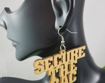 Secure the Bag- Handmade Wooden Earrings