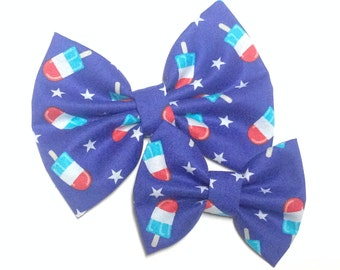 SALE Fourth of July Popsicle Bow Fabric Hair Clip or Headband Bows