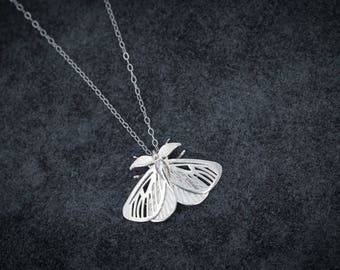 Satin Moth Pendant- Delicate Insect-Inspired Necklace in Brass, Bronze, or Silver