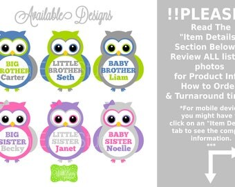 Owl Sibling Iron On Transfers - Sibling Iron On Decals - Brother Iron On - Sister Iron On - Personalized Owl Iron Ons - EMAILED or SHIPPED
