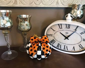 Whimsical Black And White Check Faux Pumpkin with Bow