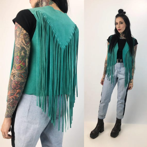 80's Turquoise Soft Suede Fringe Vest Small/Medium - Leather Cropped Fringe Biker BOHO Hippie Long Fringed Top Southwestern Teal Green Vest